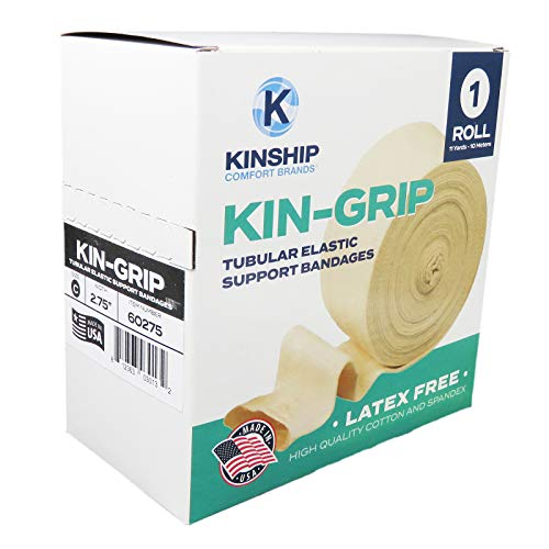 KinGrip Latex-Free Cotton Spandex Tubular Elastic Support Wound Care Stockinette Bandages by Kinship Comfort Brands. Protect Soft, Fragile Skin. Made in USA (Available in Sizes B,C,D,E,F,G)