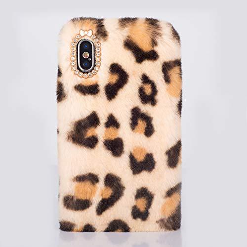 QC-EMART Funda para iPhone 6 iPhone 6S de felpa, suave, piel de tigre sintética, suave, esponjosa, a prueba de golpes, silicona
