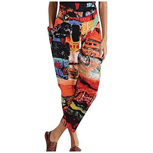 YAAY Pantalones harén para mujer, diseño abstracto, estampado floral, bohemio, retro, hippie, cintura elástica, con bolsillo