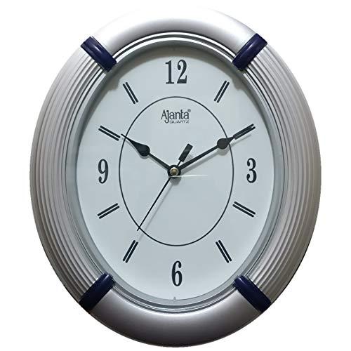 Ajanta Oval Plastic Wall Clock (245 cm x 205 cm x 40 cm, Silver)