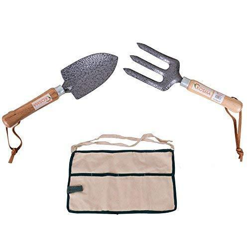 Kosma 2 Pc Garden Tool Set con la cenere con manico in legno | Cazzuola a mano | Forcella a mano | Free 4 Tasca grembiule da giardino