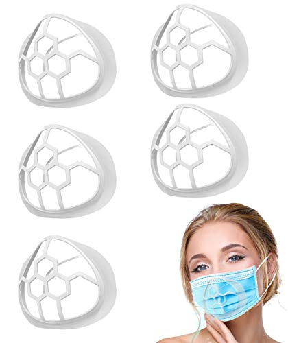 5PCS Silicone Face Mask Bracket,3D Mask Bracket Inner Support Frame for More Breathing Space,Keep Fabric off Mouth,Cool Lipstick Protection Stand,Reusable&Washable