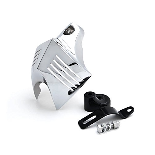 Krator Chrome Big Twin Horn Cover Stock Cowbell Horns Compatible with Harley-Davidson Touring Male Peg Mount
