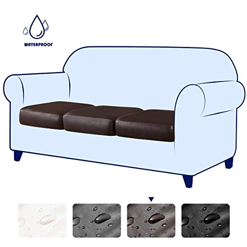 subrtex Spandex Elastic PU Couch Stretch Water-Proof Patio Durable Chair Cushion Slipcovers Furniture Protector Slip Cover for Settee Sofa Seat for Replacement in Livingroom (3, Chocolate Leather