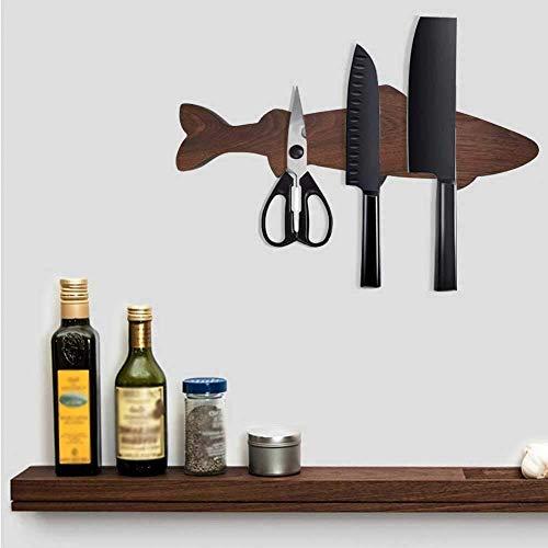 Soporte de cuchillo de madera magnético con forma de pez creativo moderno, barra de tira de almacenamiento en rack de montaje en pared para cuchillos de cocina, herramientas, magnético fuerte, nogal