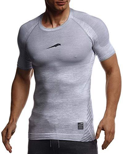 Leif Nelson Gym Herren Seamless Fitness T-Shirt Funktionsshirt Slim Fit Männer Bodybuilder Trainingsshirt Kurzarm Sportshirt - Bekleidung für Bodybuilding Training LN8307 Grau-Schwarz Large