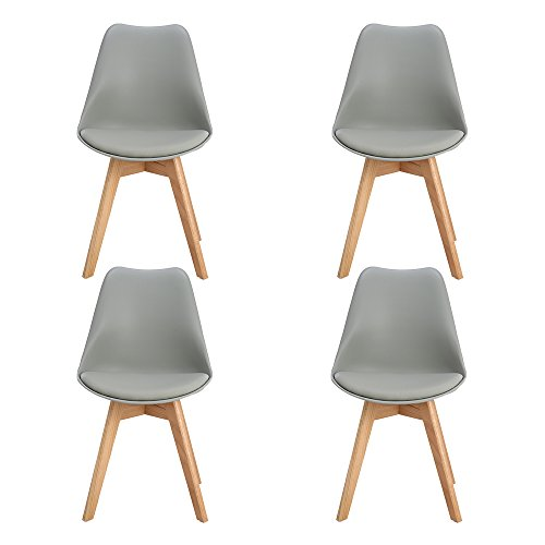 H.J WeDoo 4 x Wohnzimmerstuhl Esszimmerstuhl Bürostuhl mit Massivholz Buche Bein,Retro Design Gepolsterter Stuhl Küchenstuhl Holz, Grau