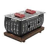 BHDD Gril Japonais Yakiniku, poêle à Barbecue Portable poêle à Charbon de Bois Japonais résistant à la Chaleur, Auge indépendante en Carbone, pour Yakiniku, Robata, Yakitori, Takoyaki, Barbecue