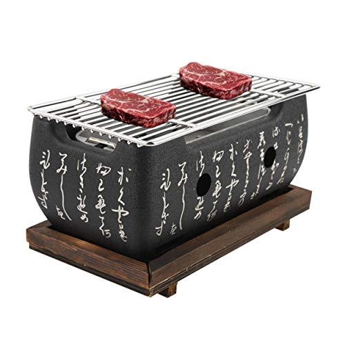 Jacksking Parrillas de carbón, Horno Rectangular Cocina Japonesa Estufa de carbón Estufa de Barbacoa Parrilla de Mesa con Red de Parrilla para Exteriores