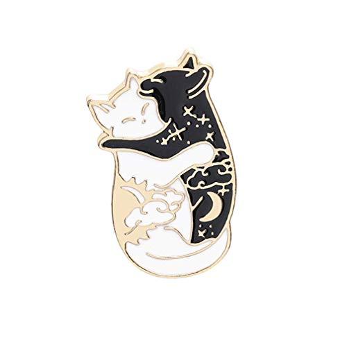 Vektenxi Premium Qualität Zwei Katze Umarmung schwarz und weiß Katzen Brosche Frauen Schmuck Geschenke