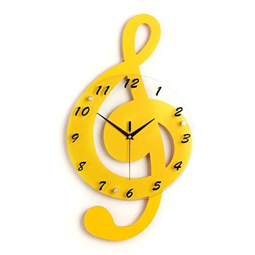 Arabe Numérique Art Solide Bois Tic-tac Horloge Murale BRICOLAGE DIY Détachable Décor À La Maison Miroir Stickers Muraux Design Moderne Grand Miroir Cadeaux Salon Décoration Horloge ( Couleur : Le jaune )