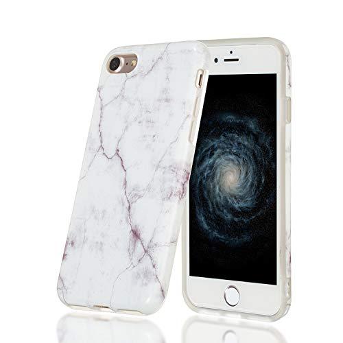 HopMore Funda Marmol para iPhone 7 / iPhone 8 Silicona Carcasa Bumper Dibujos Marble Creativa Bonita Resistente Ultrafina Case Antigolpes Cover Protección - Blanco