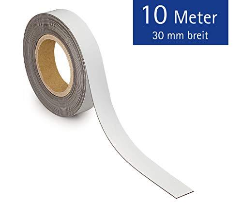Maul 6524502 Kennzeichnungsband, magnetisch, 10000 mm x 3 cm, 1 mm, weiß
