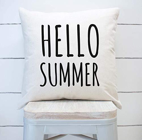 43LenaJon Fundas de almohada de lino de algodón con diseño de Hello Summer