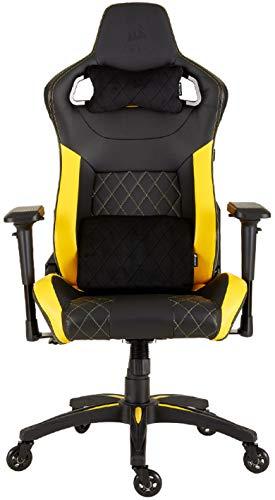 Corsair T1 Race - Fauteuil Gaming de bureau en similicuir, montage facile, ergonomique, hauteur réglable et accoudoirs 4D, confortable avec dossier inclinable - Noir/Jaune