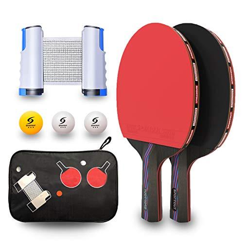Sportout Juego de palas de ping pong de mesa profesional con red retráctil, 2 palas, 3 pelotas y bolsa de transporte para niños y adultos, para interior o exterior