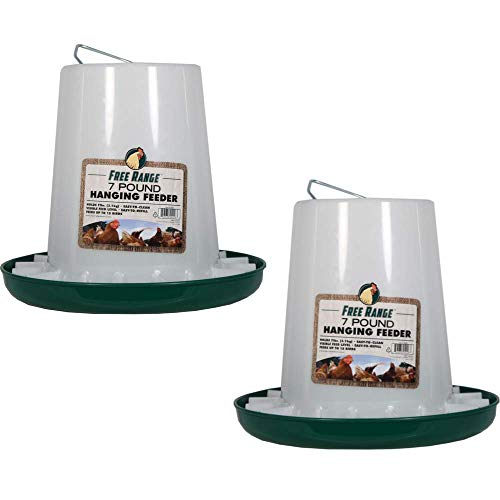 Harris Farms 1000297 Free Range Hanging Poultry Feeder |Prevents Chickens from Scratching Out Feed|, 7 Pounds, Pack of 2