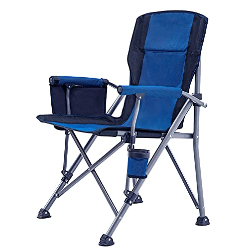 Outdoor Camping Chair, Folding Camping Chair, Heavy Duty Steel Frame, Padded Lawn Chair with Arm Rest Cup Holder and Portable Carrying Bag…