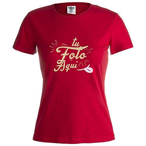 PROMO SHOP Camiseta Personalizada Mujer (Foto o Logo) Roja · Manga Corta/Talla L · 100% Algodón · Impresión Directa (DTG) · Estas Camisetas Personalizas Se Imprimen Directamente sobre el Tejido