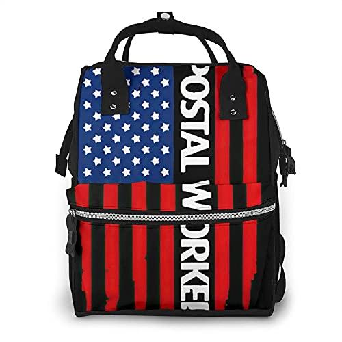 Bolsa de pañales con bandera postal de los Estados Unidos para el cuidado del bebé impermeable amplia abierta mochila de viaje para la organización