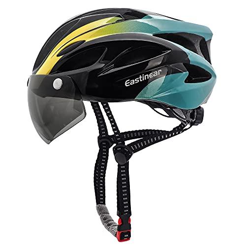 EASTINEAR Casco Bicicleta para Adultos con Gafas Hombre Mujer Casco Bicicleta con Luz de Seguridad LED Casco Ciclismo de Montaña y Carretera Tamaño Ajustable M/L 57-61cm (Negro Cian) ⭐