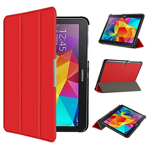 EasyAcc Hülle für Samsung Galaxy Tab 4 10.1 SM-T530 SM-T535, Smart Cover mit Auto Sleep Wake up/Standfunktion PU Leder Hüllen Kompatibel für Samsung Galaxy Tab 4 10.1 (Rot, Ultra Dünn)