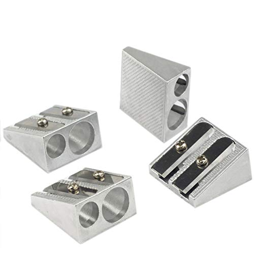 WEKOIL Pencil Sharpeners Manual Twin Metal Dual Sharpening Blade Double Holes Rectangular Pencil Sharpener for Colored Graphite Pencils Crayons Jumbo, Pack of 4,Silver