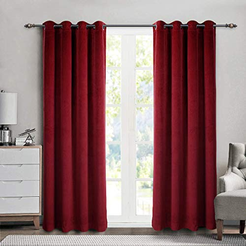 SINGINGLORY Red Velvet Curtains 52 x 63 Inch Blackout Grommet Window Curtains 2 Panels Set for Bedroom and Living Room (W52 xL84, Burgundy)