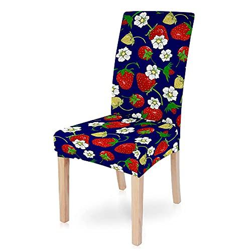HYBWSO Stuhlhussen Stretch Stuhlbezug Blaue weiße rote Blume Frucht Erdbeere 100% Polyesterfaser Abnehmbare Stuhlbezug Esszimmer Stuhl...