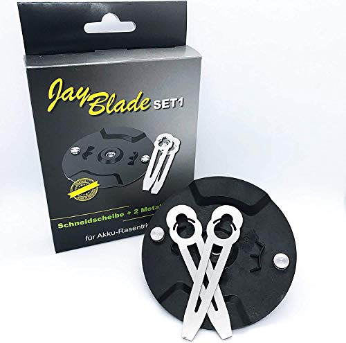 JayBladeSet1 Metallmesser-Set Ersatzmesser Für Akku-Rasentrimmer | Einhell - Gardol - Mr. Gardener - Gartenmeister - inklusive Schneidscheibe - statt Nylonmesser oder Kunststoffmesser