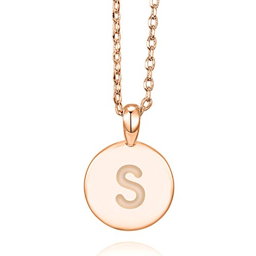PAVOI 14K Rose Gold Plated Letter Necklace for Women | Gold Initial Necklace for Girls | Letter S