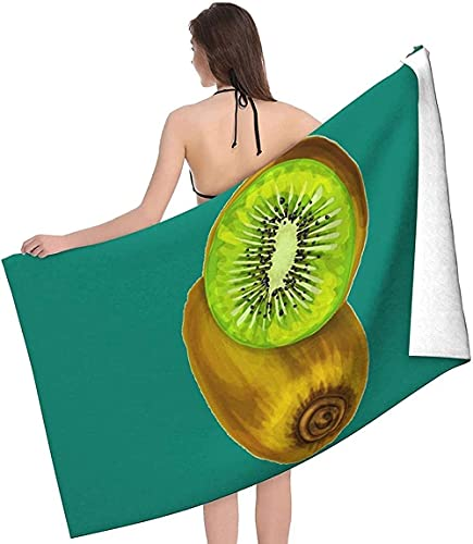 LUYIQ Toalla de Playa Grandes de Antiarena de Microfibra para Hombre Mujer, Kiwi -150x70cm, Toallas Baño Secado Rapido para Piscina, Manta Playa, Toalla Yoga Deporte Gimnasio