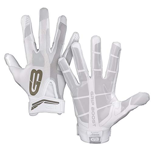 GRIP BOOST Stealth Fußball Handschuhe Pro Elite (White, Medium)