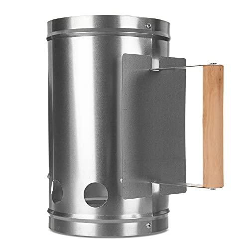 LIVIVO Anzündkamin mit Holz-Sicherheitsgriff – Schnellstart-Grill-Set für Camping, Grillen, Grillen, verzinktes Eisenblech, strapazierfähig