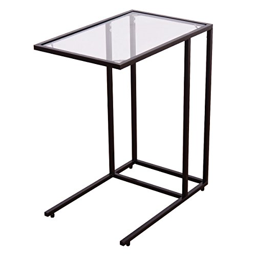 "GOFLAME 26"" End Table with Solid Glass Portable Living Room Bedroom Office Dormitory Laptop Desk Sofa Side Table Snack Table C Table"