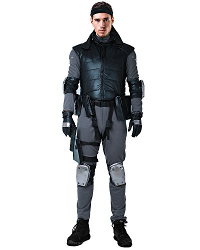 miccostumes Men's Solid Snake Cosplay Outfit Halloween Costume with Vest Belts Set (S) Black/Grey