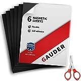GAUDER Pellicola magnetica autoadesiva, extra grande, pellicola magnetica nera, per foto, cartelli e cartoline (6 pezzi)