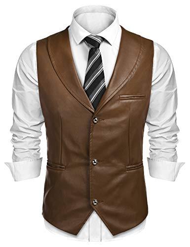 COOFANDY Herren Lederweste Casual Westernweste Jacke Slim Fit V-Ausschnitt Anzugweste Weste Weste - Braun - XL