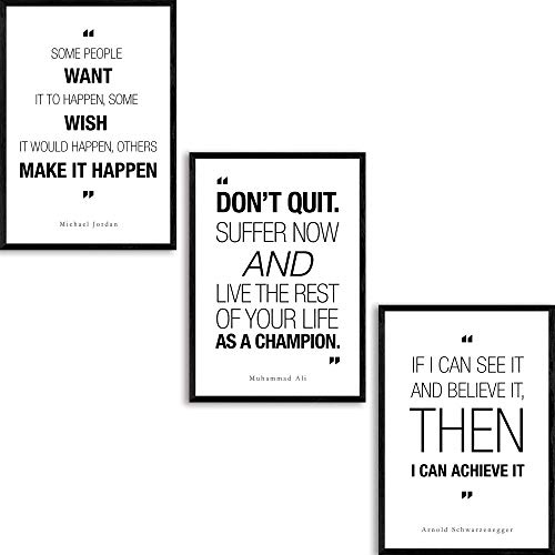 Inspirierende Zitate Motivierende Poster Geschenke Arnold Schwarzenegger Muhammad Ali Michael Jordan Poster Zimmer Wandkunst Dekor - Größe A2