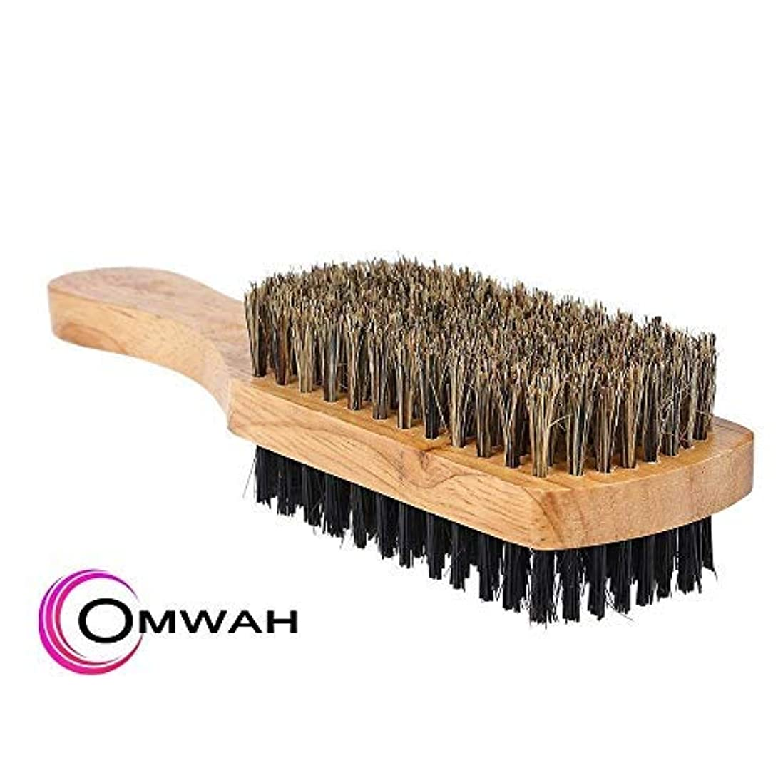 分類毒麻酔薬Omwah Double Sided 2 Sided Facial Hairbrush Styling Beard Brush Mens Boar Bristle [並行輸入品]