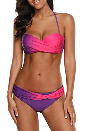 Dokotoo Bikinis Damen Bikini Set Badeanzug Push Up Striped Badebekleidung 2 Farbe mit Hotpants Gr Lila S (EU36-EU38)