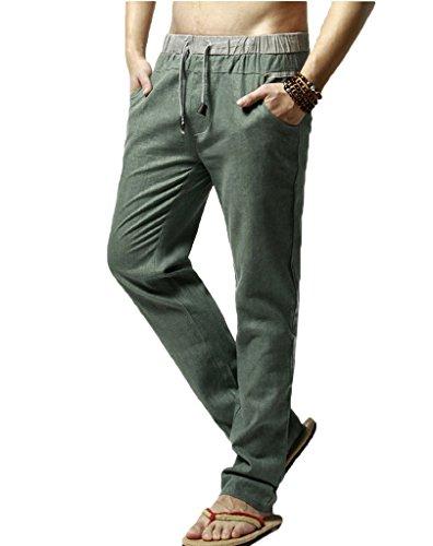 Elonglin Homme Pantalon de Loisir en Lin Confortable Respirant Taille Elastique Cordon de Serrage Vert Asiatique XL (FR M)