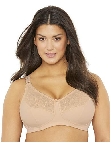 Amazon Brand - MxG - a Mae and Glamorise Collaboration - Women's Full Figure Plus Size Minimizer Comfort Support Bra, Toasted Almond, 46F