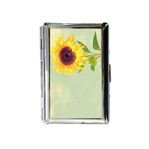 Zonnebloem mooie op maat gegraveerde metalen sigarettenhouder geval, sigarettenetui of portemonnee.