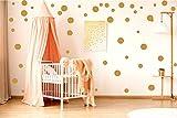 ewtshop 48 Wandtattoo Dots Punkte, Gold Aufkleber, Punkte für Kinderzimmer und Wohnräume
