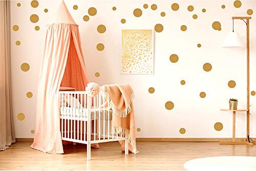 ewtshop® 48 Wandtattoo Dots Punkte, Gold Aufkleber, Punkte für Kinderzimmer und Wohnräume