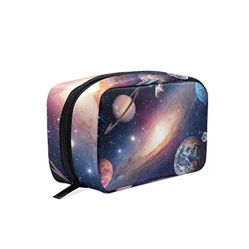 Mnsruu Trousse de maquillage portable avec espace extérieur Motif galaxie
