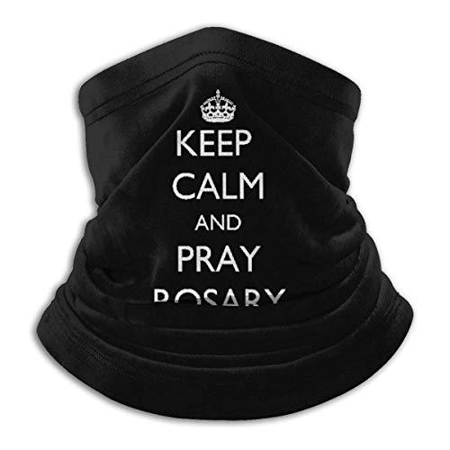 NA Uv-Schutz Stirnband,Halten Sie Ruhig Und Beten Sie Rosenkranz Gesichtsdekoration Stirnband, Luxuriöse Farben Hals Schal Für Camping Adult Unisex,26X30Cm
