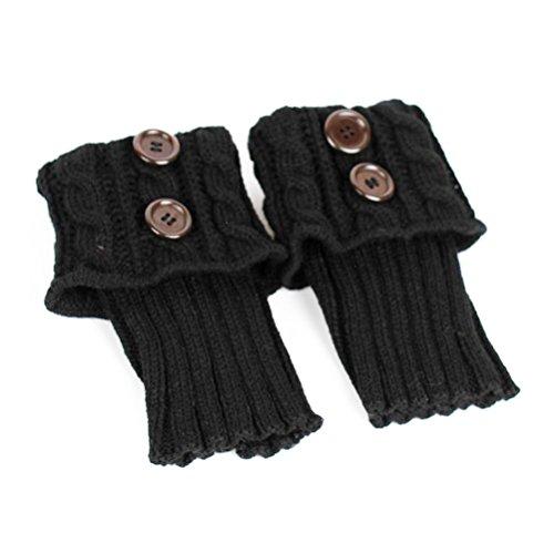 Pixnor Damen stricken Stulpen Socken Gestrickte kurzer Punkt Legwarmer Boot-Abdeckung Socken schwarz