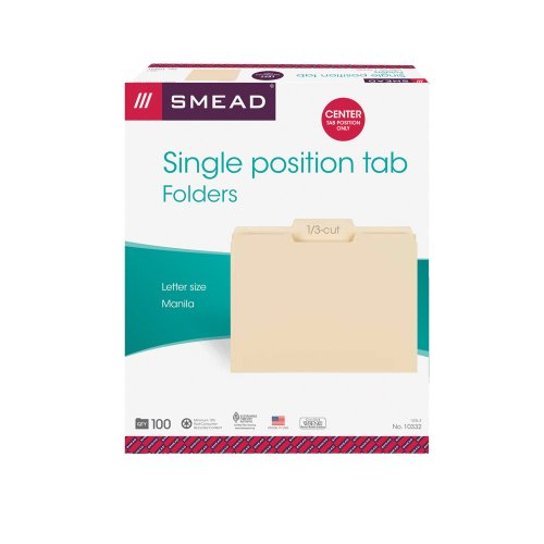 Smead File Folder, 1/3-Cut Tab, Center Position, Letter Size, Manila, 100 Per Box (10332)